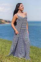 Д1062/1 Длинное платье в полоску размеры 50-56