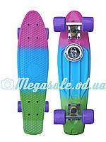 Скейтборд/скейт Penny Board Fades Градиент/Мультиколор (Пенни борд): Tropic, нагрузка до 80кг