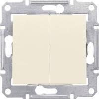 Вимикач 2-клавішний, слонова кістка - Schneider Electric Sedna (Код: SDN0300123)