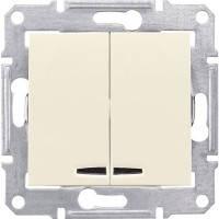 Вимикач 2-клавішний з підсвічуванням, слонова кістка - Schneider Electric Sedna (Код: SDN0300323)