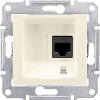 Розетка компьютерная RJ45 кат.5е UTP, 1-гнездо, слоновая кость - Schneider Electric Sedna (Код: SDN4300123)