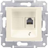 Розетка телефонна RJ11 з 1-гніздом, слонова кістка - Schneider Electric Sedna (Код: SDN4101123)