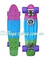 Скейтборд/скейт пенни борд (Penny Board) пенни Fades Series трехцветный: Tropic, нагрузка до 80кг