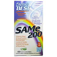 SAM-e 200 (S-Аденозилметионин) , 60 таблеток Doctor's Best, в натуральной растворимой оболочке