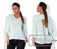 Модная шифоновая бирюзовая блуза батал с молнией на спине.  Арт-8002/81