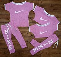 Костюм летний с лосинами для девочек, ткань меланж, размер 86/92,92/100 см, Украина