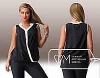 Летняя шифоновая черная блуза батал с белой вставкой.  Арт-8003/81