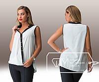 Летняя шифоновая белая блуза батал с черной вставкой.  Арт-8003/81