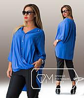 Синяя летняя штапельная блуза-туника больших размеров.  Арт-8004/81