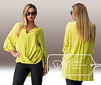 Оливковая летняя штапельная блуза-туника больших размеров.  Арт-8004/81