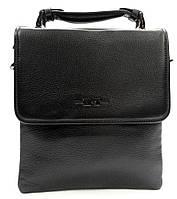 Вместительная мужская кожаная сумка черная с ручкой