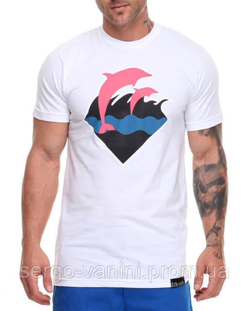 Мега Футболка мужская с принтом Waves Pink Dolphin