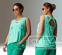 Бирюзовая леняя блузка больших размеров .  Арт-8007/81