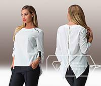 Белая шифоновая блузка-фрак больших размеров .  Арт-8008/81