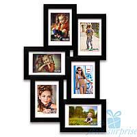 Фоторамка из дерева Аврора на 6 фотографий 10х15, обычное стекло (чёрный)
