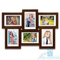 Фоторамка из дерева Классическая на 6 фотографий 10х15, обычное стекло (коричневый)