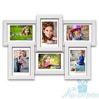 Деревянная фоторамка Классическая на 6 фотографий 10х15, обычное стекло (белый)