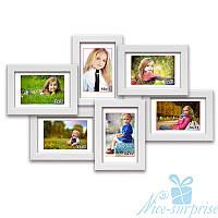 Фоторамка из дерева Ретро на 6 фотографий 10х15, обычное стекло (белый)