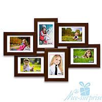 Деревянная фоторамка Ретро на 6 фотографий 10х15, обычное стекло (коричневый)