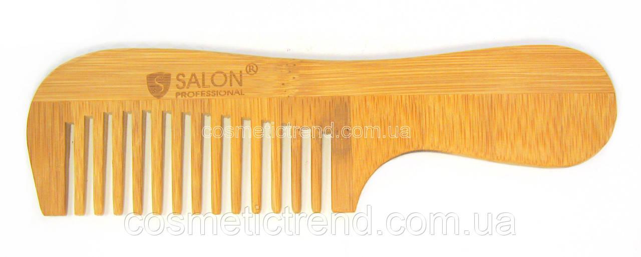 Расческа-гребень для волос деревянная с ручкой (15 зубцов)Salon Professional
