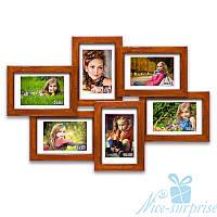 Фоторамка из дерева Ретро на 6 фотографий 10х15, обычное стекло (палисандр)