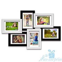 Фоторамка из дерева Ретро на 6 фотографий 10х15, обычное стекло (чёрно-белый)