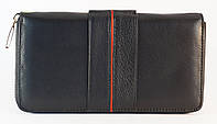 Кожаный черный вместительный женский кошелек с картхолдером SALFEITE art. 12247, фото 1
