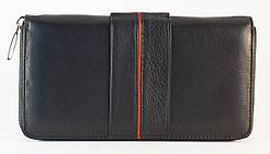 Кожаный черный вместительный женский кошелек с картхолдером SALFEITE art. 12247