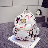 Женский рюкзак городской Flowers белый