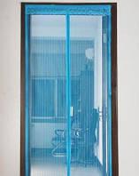 Антимоскитная сетка для дверей с декоративной накладкой на магнитах 200х100см с комплектом для установки