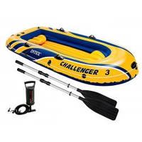 Лодка Intex CHALLENGER 3 SET 68370 3 чел + алюм вёсла + насос 295-137-43 см