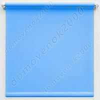 42,5 см х 170 см. Ткань Лен, голубые. Рулонные шторы, Тканевые роллеты.