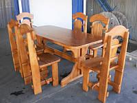 """Набор садовой мебели """"Царский"""" из дерева, стулья 6 шт. и стол."""