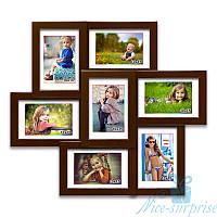Деревянная фоторамка Камелия на 7 фотографий 10х15, обычное стекло (коричневый)
