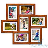Фоторамка из дерева Камелия на 7 фотографий 10х15, обычное стекло (палисандр)