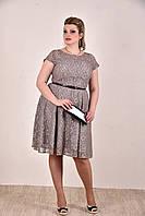Женское коктельное платье на лето 0296 цвет серый до 74 размера