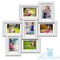 Фоторамка из дерева Классическая на 7 фотографий 10х15, обычное стекло (белый)