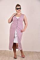 Женское летнее платье из бенгалина большие размеры 0288-2 цвет сиреневый до 74 размера / больших размеров