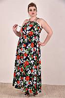 Женский летний сарафан с розами 0287-3 до 74 размера / больших размеров для полных женщин