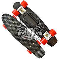 """Пенни борд (Penny Board) классический 22"""" - Черный с красными колесами"""