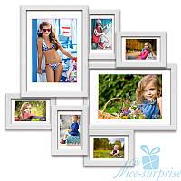 Деревянная фоторамка Алисса на 7 фотографий, обычное стекло (белый)
