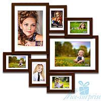 Деревянная фоторамка Алисса на 7 фотографий, обычное стекло (коричневый)