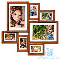 Деревянная фоторамка Алисса на 7 фотографий, обычное стекло (палисандр)