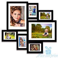 Деревянная фоторамка Алисса на 7 фотографий 10х15, обычное стекло (чёрный)