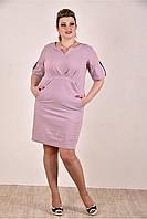 Женское джинсовое платье  на лето 0285-1 цвет сиреневый до 74 размера / больших размеров для полных женщин