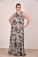 Женское шифоновое платье цвет зеленый 0284-3 до 74 размера / больших размеров для полных женщин