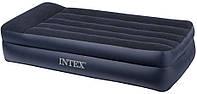 Надувная велюр кровать Intex 203х102х50 см со встроенным насосом
