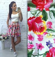 Белая юбка солнце с цветами, фото 1