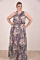 Женское шифоновое платье цвет серый 0284-1 до 74 размера / больших размеров для полных женщин