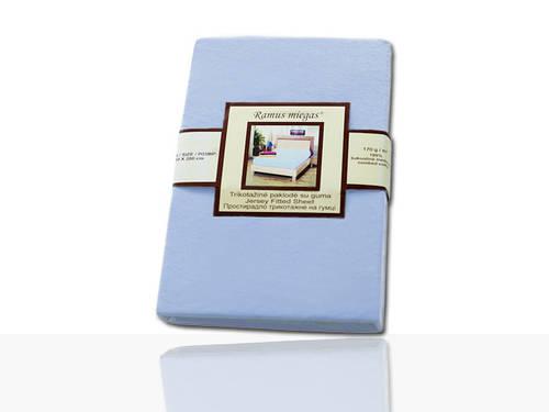 Простынь на резинке трикотажная (голубая) 90х200